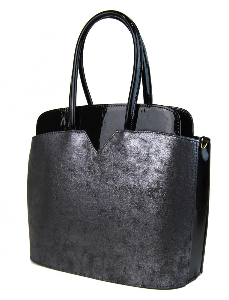 Černo-stříbrná patinovaná elegantní kabelka S482 GROSSO - drento.cz daa05ab332e