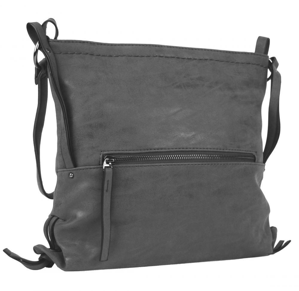 Dámská crossbody kabelka z broušené kůže 165B-6 nová šedá - drento.cz fecb1fba34a