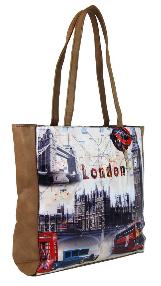 Dámská kabelka na rameno s motivem Londýna 60694 přírodní hnědá (1 3) ff2e5165dab