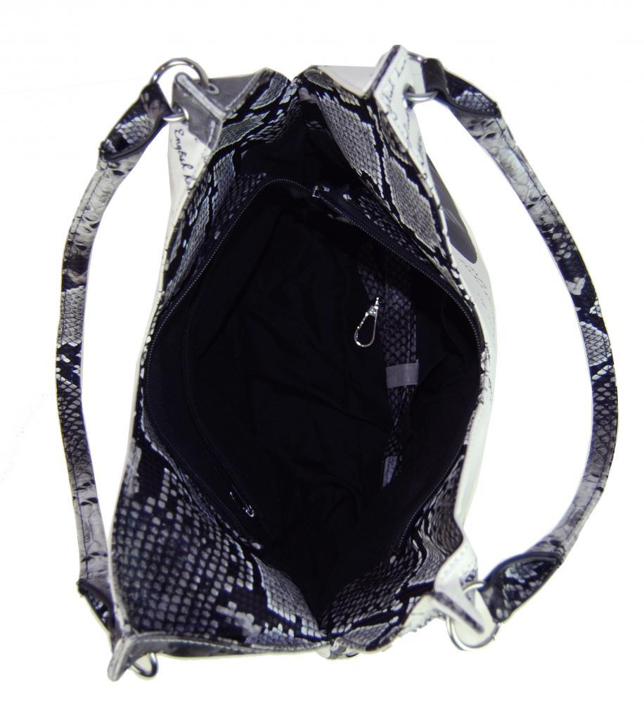 afa4e56955 Kabelka na rameno v anglickém stylu 1593 černo-bílá - drento.cz