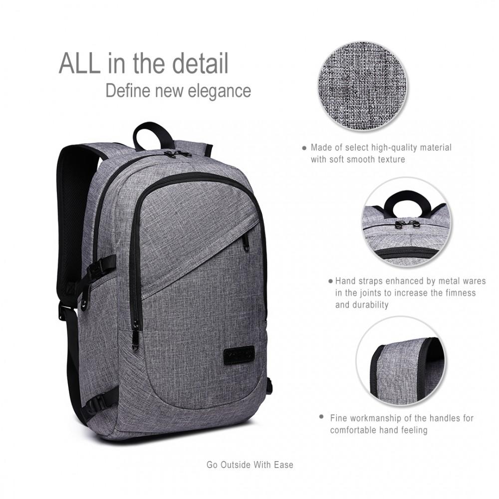KONO šedý moderní elegantní batoh s USB portem UNISEX - drento.cz 5b1ed8f0d7