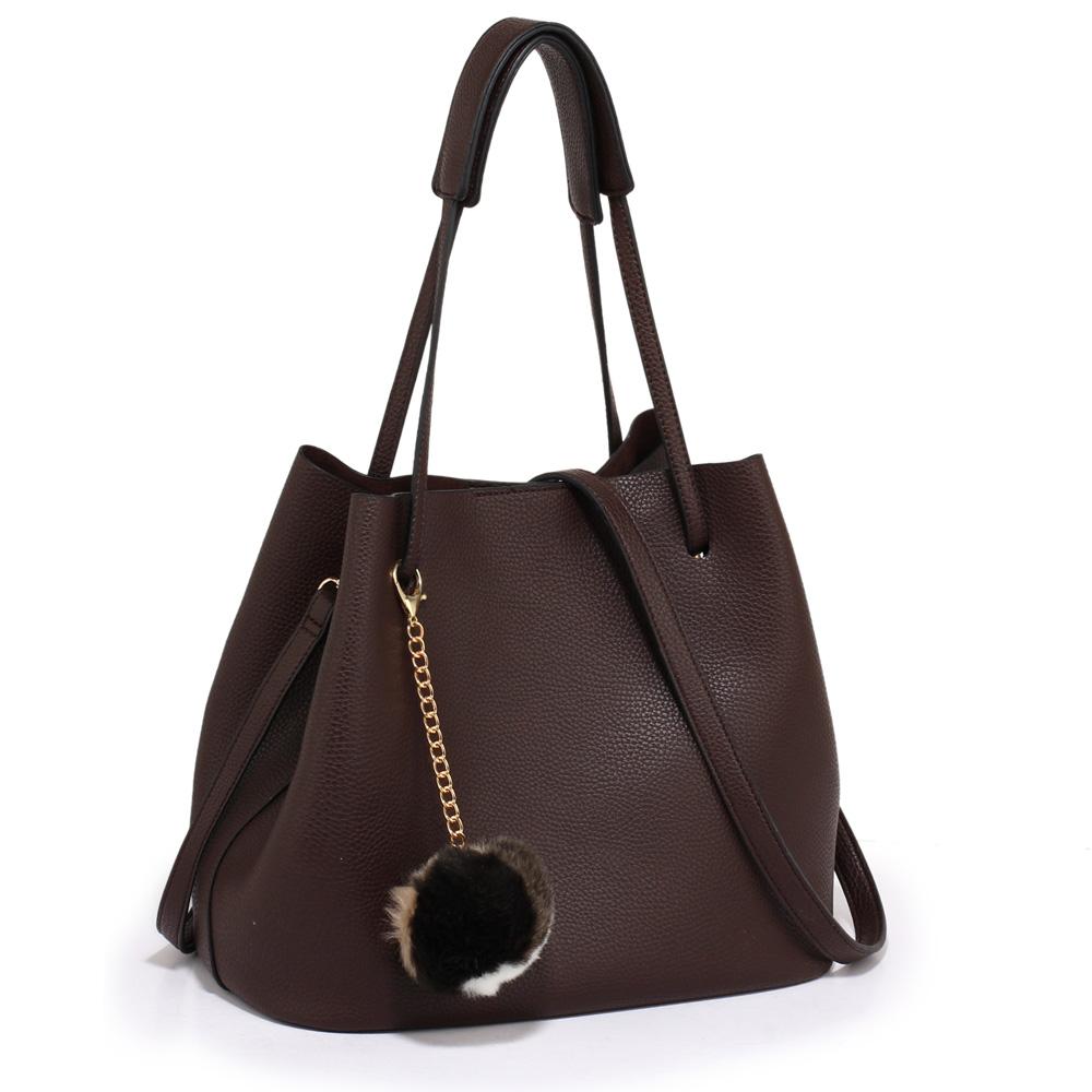 4ec8dcb4cc0 LS Fashion moderní kávová dámská Hobo kabelka s kožešinovou ozdobou (1 5)