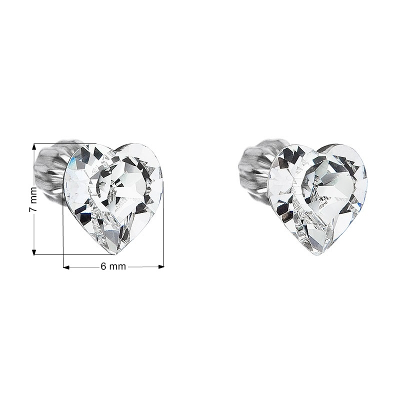 Stříbrné náušnice srdíčka Crystals from Swarovski® Crystal - 1 89f0a2c5d12