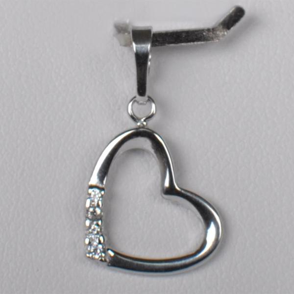 Stříbrný přívěšek srdce se zirkony - 0 34cc8b54c43