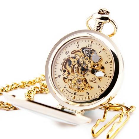de77dab4249 Zlacené mechanické kapesní hodinky otevírací - cibule - drento.cz