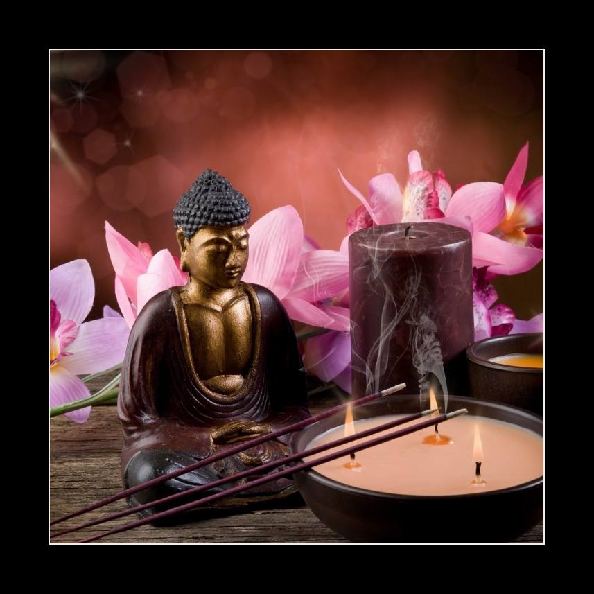 buddah witn candle and incense