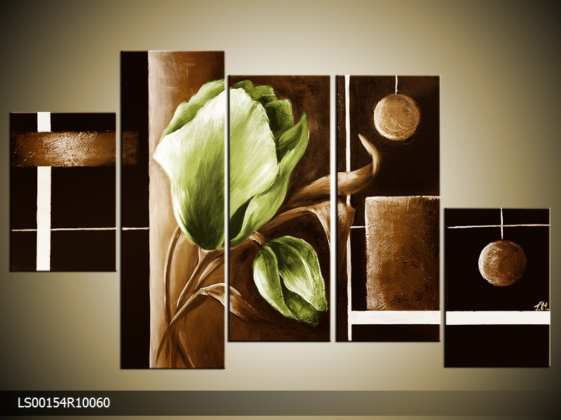 Ručně malovaný obraz zeleného tulipánu - drento.cz c411d45223
