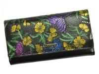 a02c7b211e7 Cavaldi černá dámská kožená peněženka s květy v dárkové krabičce