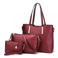 4d44195d5d Praktický lakovaný dámský kabelkový set 3v1 Miss Lulu červená