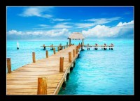 Vacation in Tropic Paradise. Jetty on Isla Mujeres, Mexico